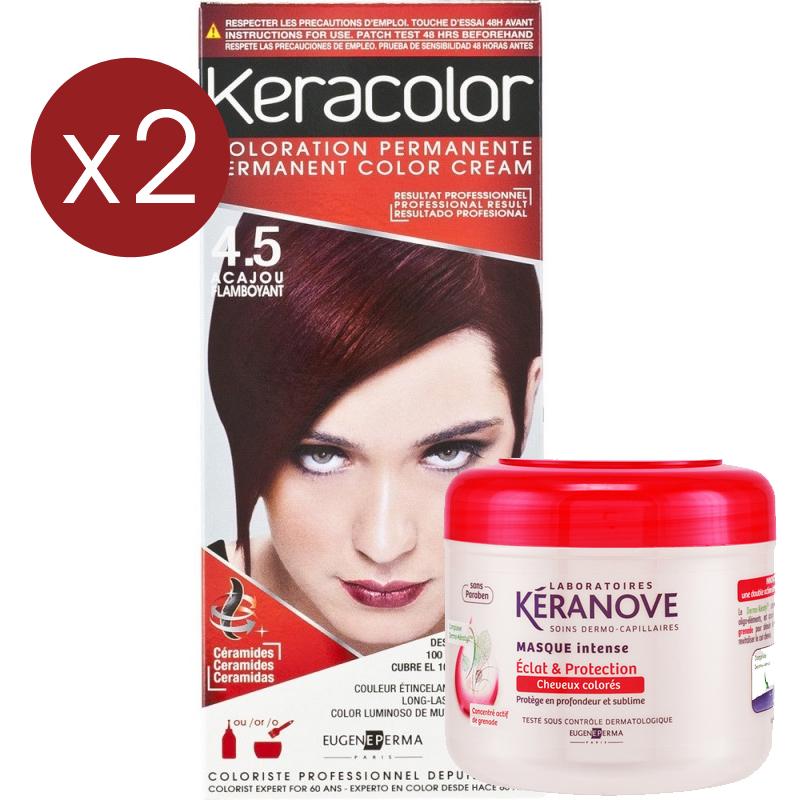 programme coloration et soin acajou flamboyant - Coloration Keranove